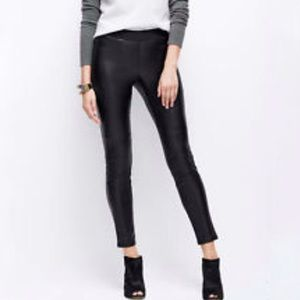 ANN TAYLOR FAUX LEATHER panel skinny LEGGINGS